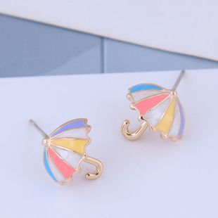925 aguja de plata coreana moda dulce OL paraguas pendientes al por mayor NHSC204335's discount tags