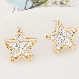 Korean fashion exquisite flash diamond pentagram star studs wholesale NHSC204334's discount tags