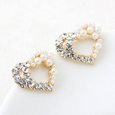Korean fashion sweet flash diamond love pearl earrings wholesale NHSC204333