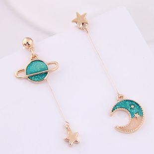 Korean Fashion Sweet OL Xingyue Asymmetric Earrings Wholesale NHSC204331's discount tags