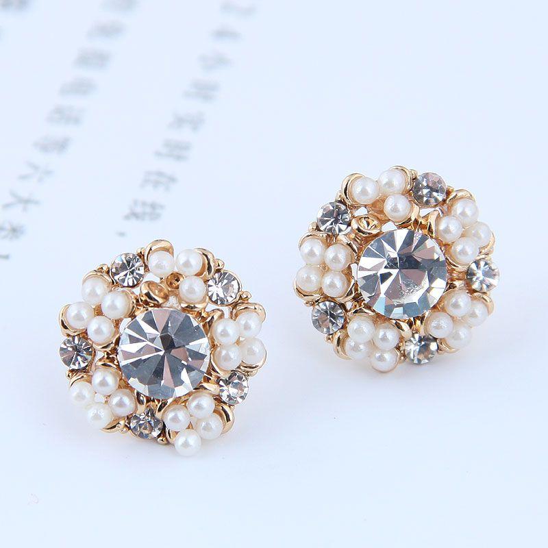 Korean fashion sweet wild flower pearl OL earrings wholesale NHSC204330