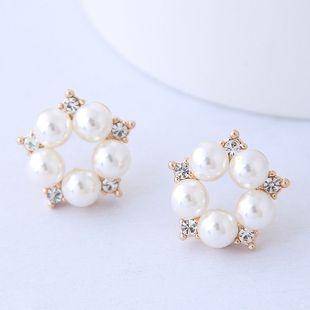 Korean fashion simple flower pearl earrings wholesale NHSC204329's discount tags