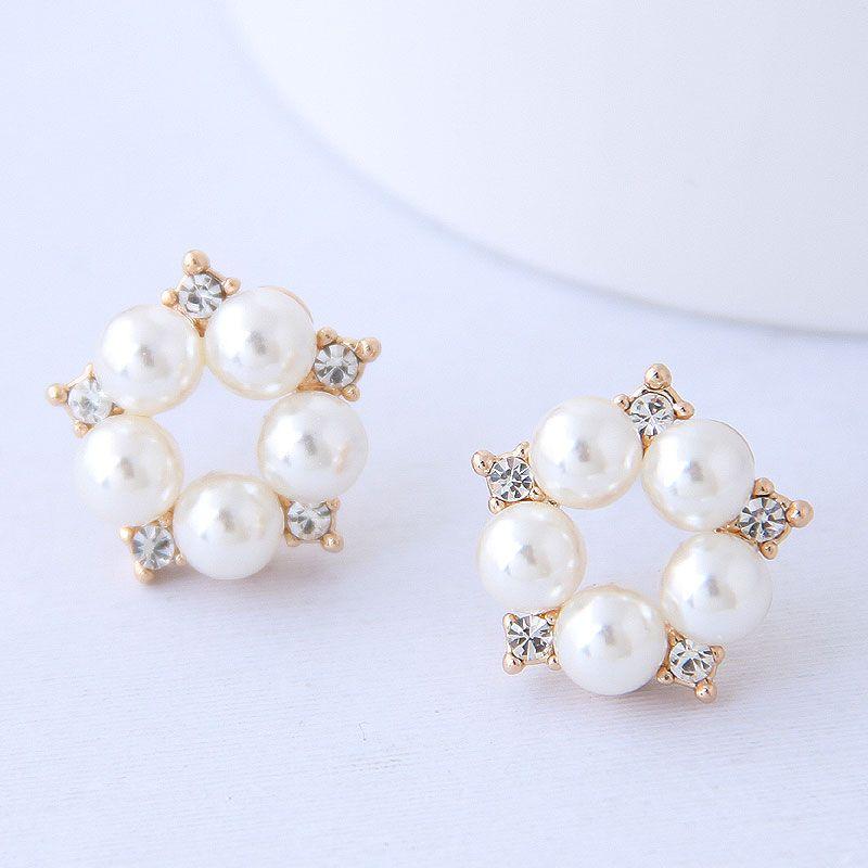 Korean fashion simple flower pearl earrings wholesale NHSC204329