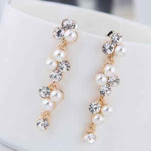 Pendientes de perlas de diamantes de imitación salvajes de metal de moda coreana al por mayor NHSC204328's discount tags