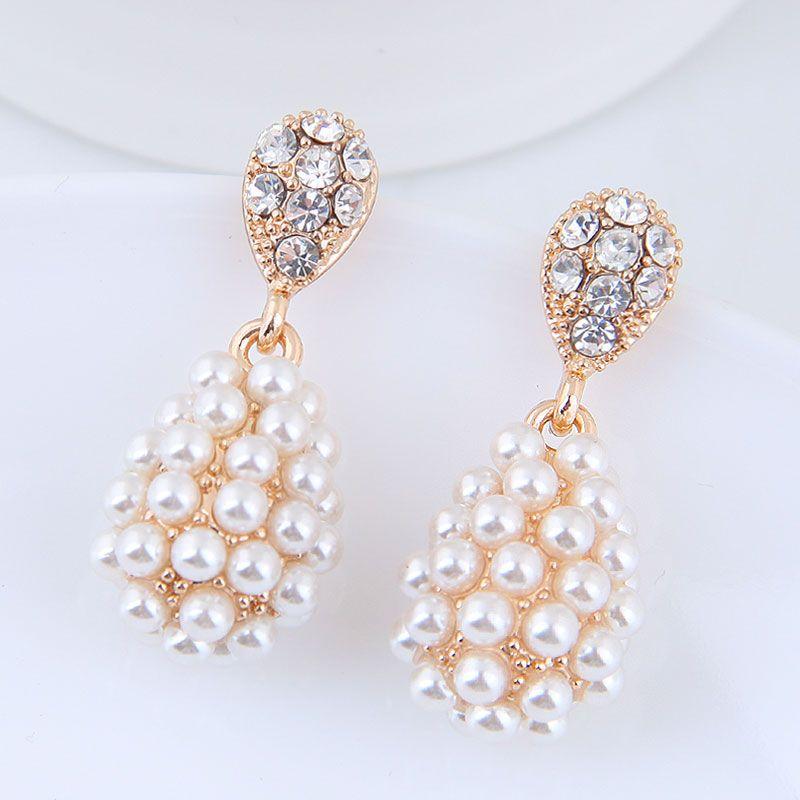 Korean Fashion Sweet OL Simple Elegant Water Drop Pearl Earrings Wholesale NHSC204327