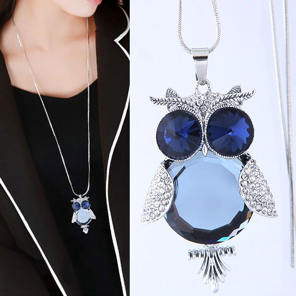 Fashion Metal Owl Gemstone Accessories Tassel Long Money Chain Sweater Chain Wholesale NHSC204323