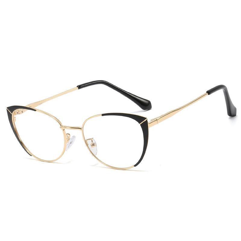 New Trend Metal Oval Frame Spring Leg Glasses Frame Literary Bicolor Frame Mirror NHFY203888