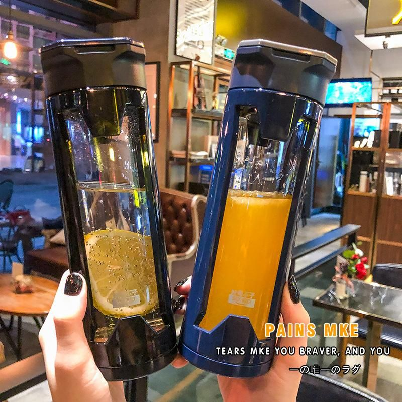 Insulation and shatter-resistant simple glass water bottle couple sports fitness with lid portable tea leak plastic glass cup NHtn203934