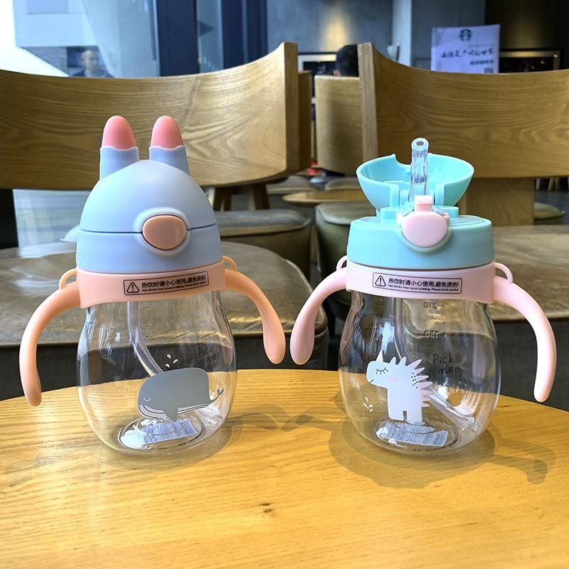 Fashion Simple Bunny Child Pot Plastic Drop-proof Straw Water Cup Portable Take-out Scale Child Water Cup NHtn203937
