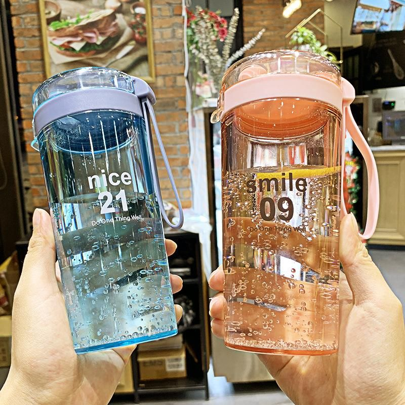 Korean simple sports shake ball plastic cup flip cover handle cup boys and girls outdoor portable cup NHtn203942