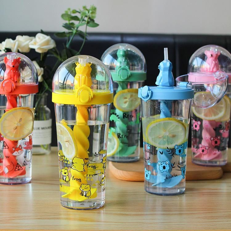 Fashion Cute Animal Straw Stirring Plastic Water Cup Portable Handle Summer Child Drink Water Cup Girl Water Cup NHtn203943