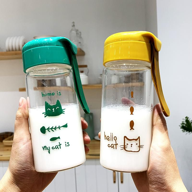 Korean simple creative cartoon glass handle portable male and female students takeaway cup cute anti-scalding cup NHtn203944