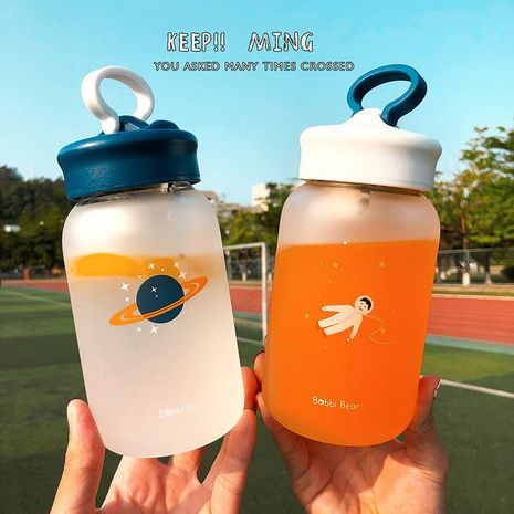 Cute water cup frosted hand cup female student portable tea cup holder heat-resistant glass cup NHtn203953's discount tags
