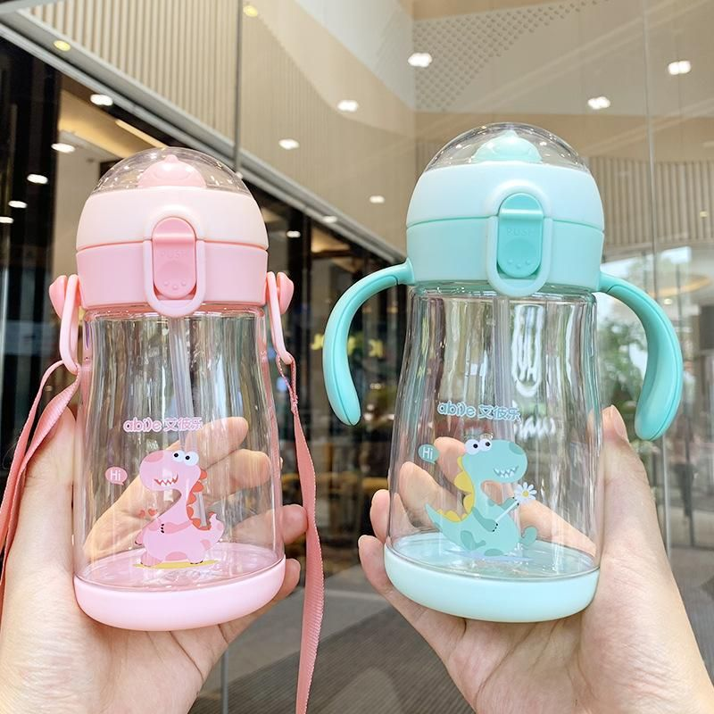 Korean cartoon three-dimensional dinosaur children plastic cup one dual-use straw cup men and women baby portable water cup NHtn203957