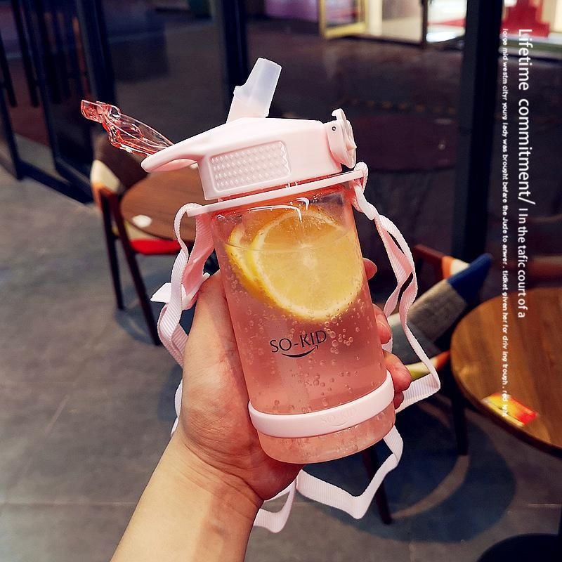 Simple straw drinking cup with strap portable children's student kettle summer cute cup NHtn203961