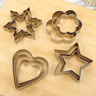 Baking tools DIY heart-shaped 430 stainless steel cake mold three-piece cookie mold omelette mold NHJA204080's discount tags