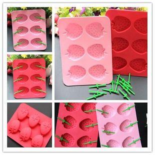 Été fraise forme bac à glaçons fraise silicone boîte à glace cuisine créative moule à glace NHJA204088's discount tags