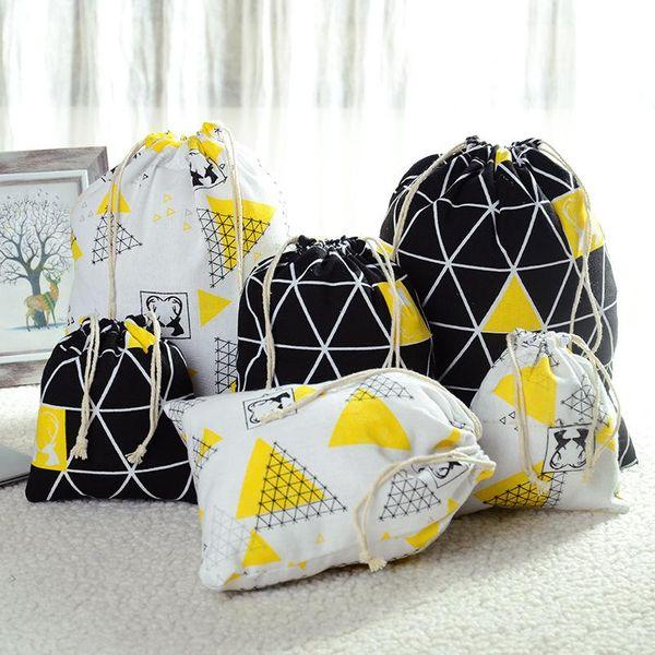 Drawstring drawstring creative cotton bag backpack bag drawstring cotton bunch pocket cotton linen pocket NHJA204093