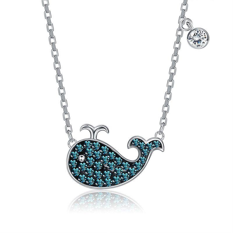 New Fashion Cute Broken Diamond Blue Whale Necklace NHKL203818