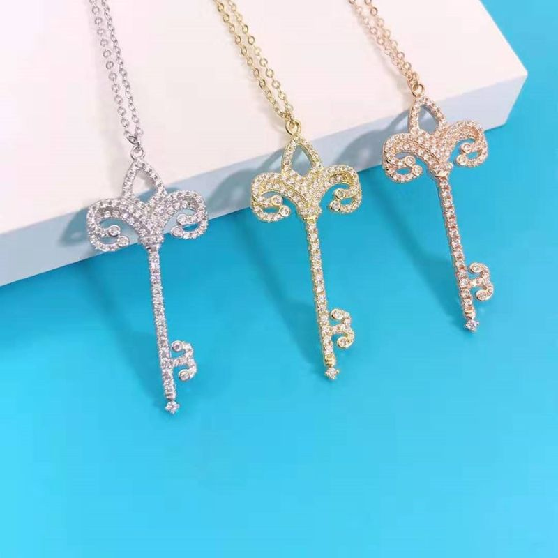 New Fashion Broken Diamond Key Necklace Wholesale NHKL203821