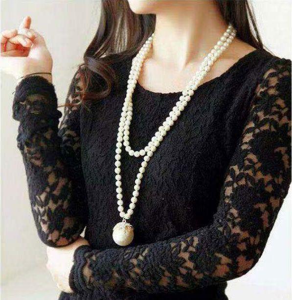 Korean fashion metal bright ball elegant pearl long money chain wholesale NHSC204322