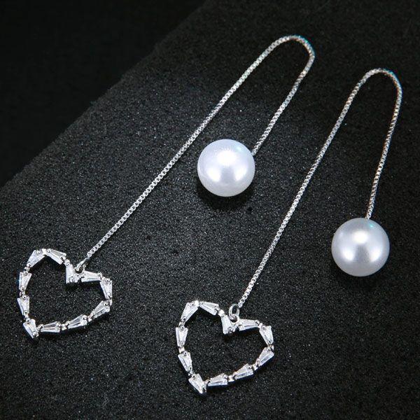 Korean Fashion Sweet OL Love Zircon Pearl Earrings Wholesale NHSC204320