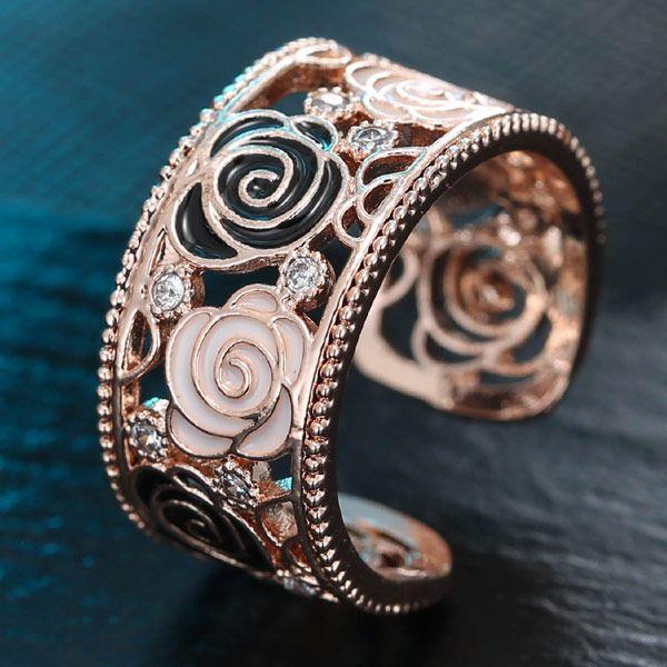 Korean Fashion Sweet Hollow Rose Flower Open Ring Wholesale NHSC204318