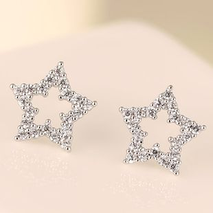 Korean Fashion Sweet OL Pentagram Zircon Stud Earrings Wholesale NHSC204317's discount tags
