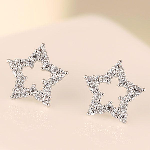 Korean Fashion Sweet OL Pentagram Zircon Stud Earrings Wholesale NHSC204317