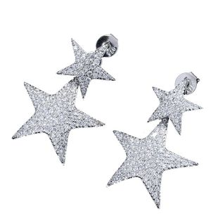 Fashion Copper Brilliant Lucky Star Zirconia Earring Earrings NHSC204316's discount tags