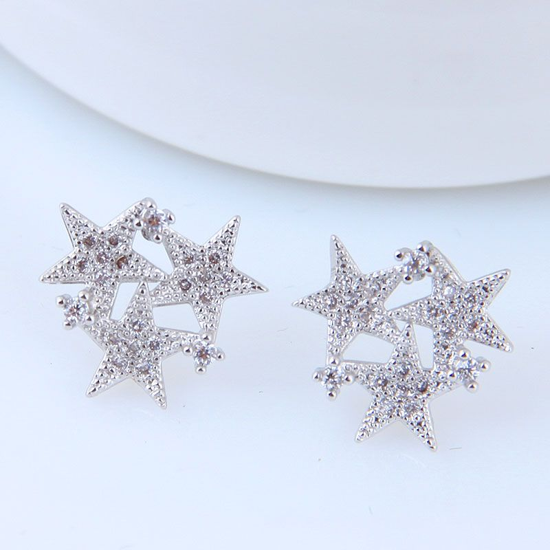 Korean Fashion Sweet Inlaid Zircon Meteor Stud Earrings Wholesale NHSC204313