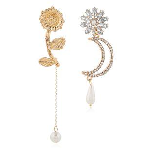 Fashion Metal Simple Flower Meniscus Asymmetric Earrings Wholesale NHSC204311's discount tags