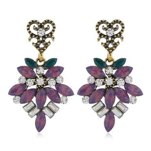 Fashion Metal Brilliant Gem Exaggerated Earrings Wholesale NHSC204309's discount tags