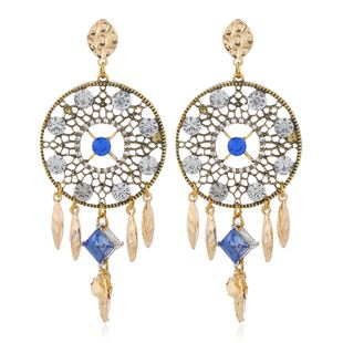 European and American fashion metal flash diamond catching net exaggerated earrings NHSC204308's discount tags