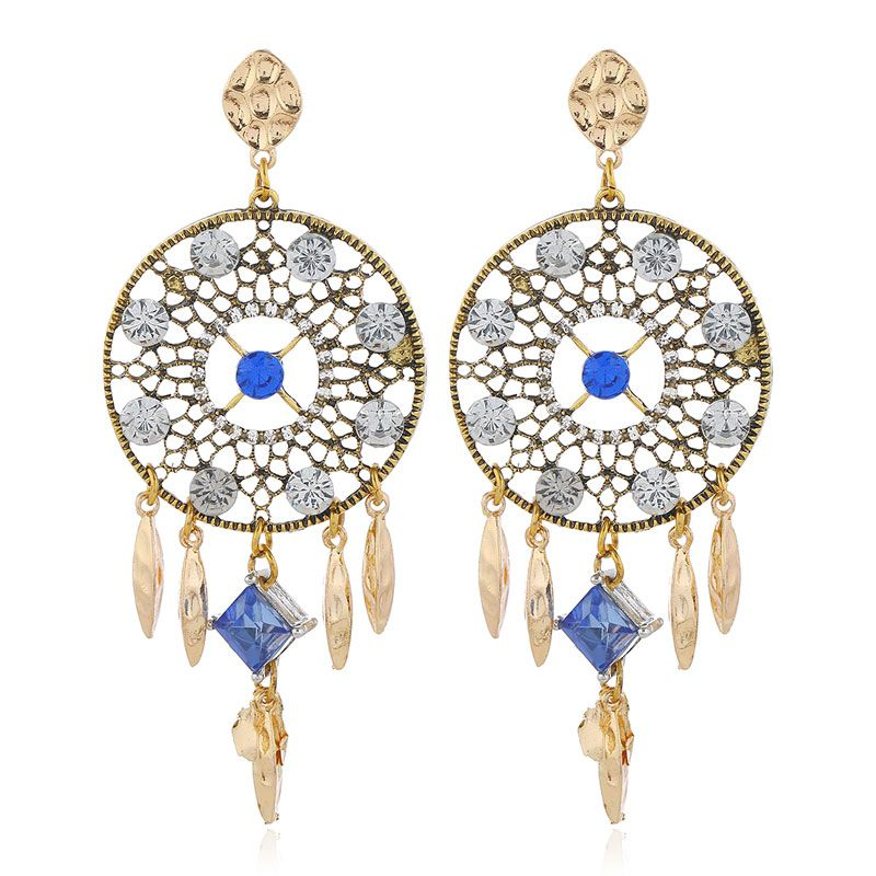European and American fashion metal flash diamond catching net exaggerated earrings NHSC204308