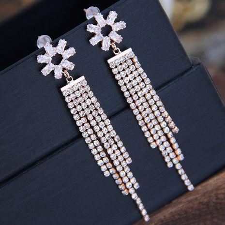 Aiguille en argent 925 Mode coréenne Sweet OL Boucles d'oreilles à pompons à fleurs brillantes NHSC204307's discount tags