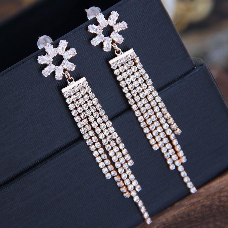 925 Silver Needle Korean Fashion Sweet OL Shining Flower Tassel Earrings NHSC204307