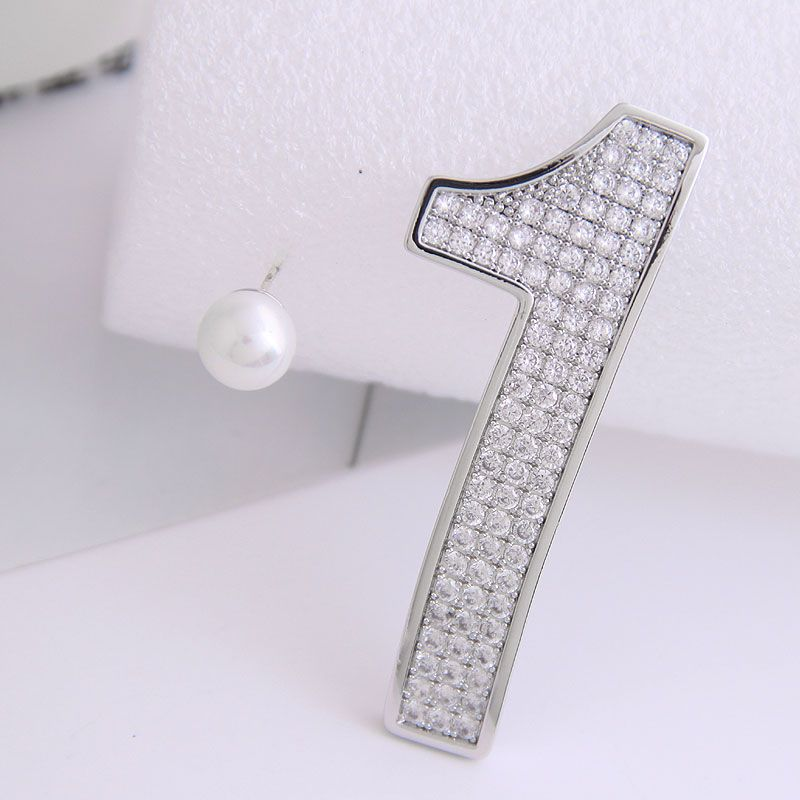 925 Silver Pin Korean Fashion Classic Number 01 Asymmetric Exaggerated Earrings NHSC204306
