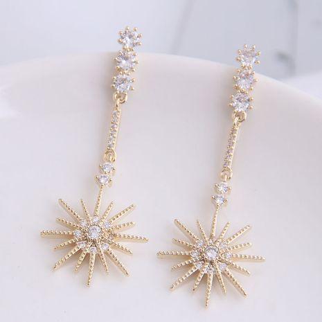 Aiguille en argent 925 mode coréenne douce OL brillant simple fleur de soleil boucles d'oreilles exagérées NHSC204304's discount tags