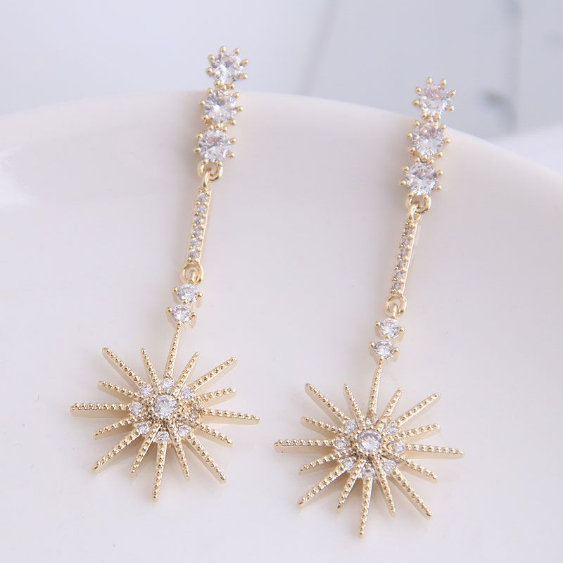 925 Silver Needle Korean Fashion Sweet OL Shining Simple Sun Flower Exaggerated Earrings NHSC204304