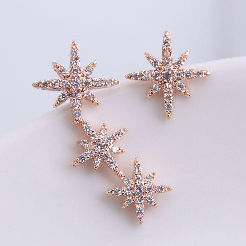 925 Silver Needle Korean Fashion Sweet OL Shining Small Flower Asymmetric Earrings NHSC204303