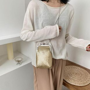 Texture small bag bucket bag female new wave fashion shoulder messenger bag women wholesale NHTC204161's discount tags