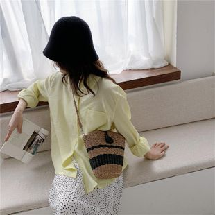 New tide fashion straw bag shoulder bag wild bucket bag wholesale NHTC204171's discount tags