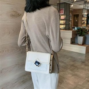 New Trend Korean Wild Chain Messenger Bag Fashion Sequins Small Square Bag Wholesale NHTC204172's discount tags