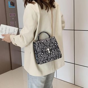 Spring new snakeskin pattern bag women hit color portable small square bag shoulder messenger bag wholesale NHTC204175's discount tags