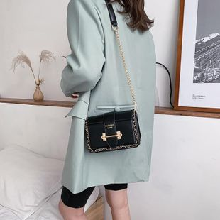 Spring new women's bag casual small square bag chic chain shoulder messenger bag wholesale NHTC204184's discount tags
