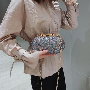 Spring new fashion texture sequin banquet clutch Han sequin chain small square bag NHTC204188's discount tags