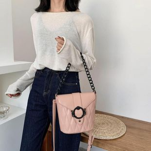 New Fashion Textured Chain Messenger Bag Wild Shoulder Bucket Bag Wholesale NHTC204192's discount tags
