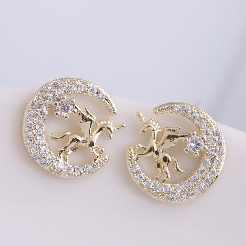 925 Silver Needle Korean Fashion Sweet OL Simple Horse Ear Studs Wholesale NHSC204300