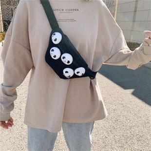 Canvas bag chest bag female diagonal cross wild tide simple cute student plush small shoulder bag wholesale NHTC204214's discount tags
